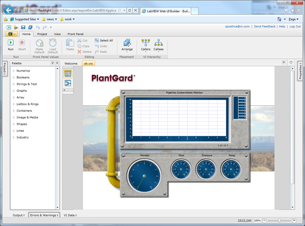 NI LabVIEW Web UI Builder Development Environment